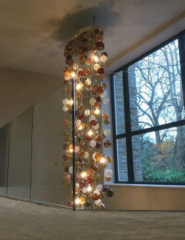 Cascade Browns Neutral Bespoke Chandelier Contemporary and Modern Handcrafted Chandelier