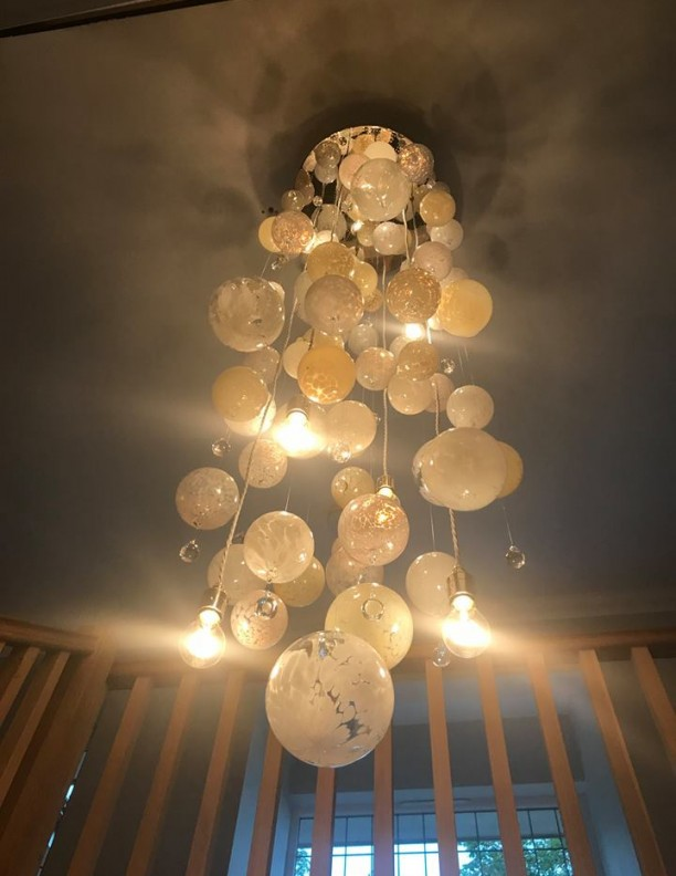 Cascade Pink Neutral Alabaster Bespoke Chandelier Contemporary and Modern Handcrafted Chandelier