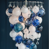 white royal blue Hand Blown Glass Chandelier