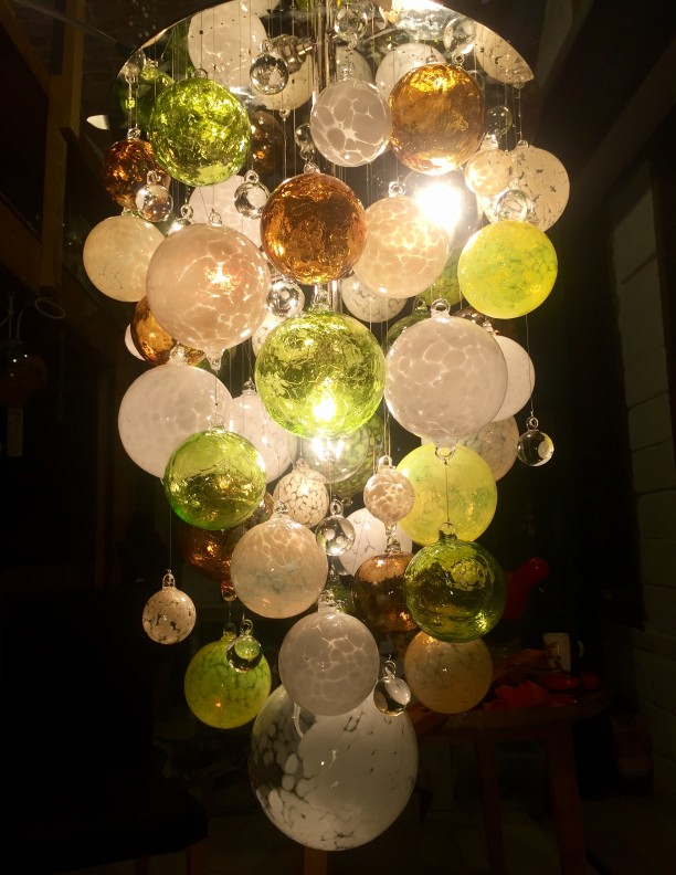 lime green Hand Blown Glass Chandelier