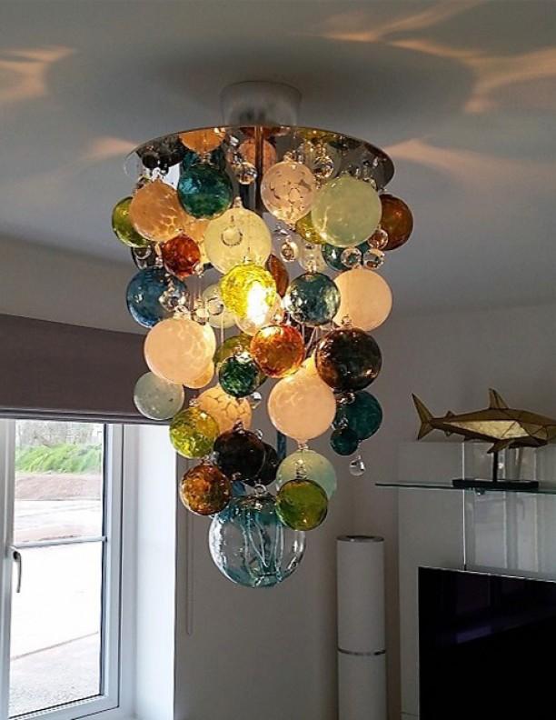 Multi Coloured Hand Blown Glass Chandelier