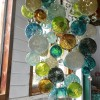 lime green blue Hand Blown Glass Chandelier