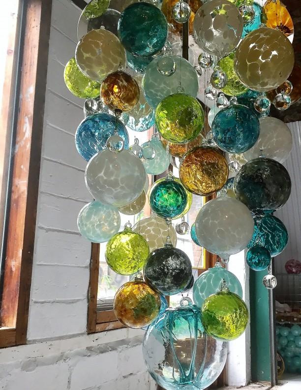 lime green blue Hand Blown Glass Chandelier