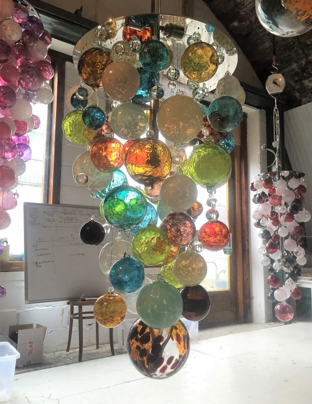 Multi Coloured Hand Blown Glass Chandelier