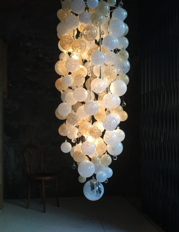 Alabaster Blown Glass Chandelier