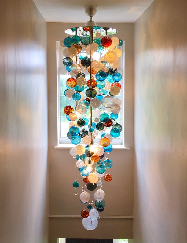 Large aqua orange colours Contemporary Chandeliers arty blown glass Pendant Lighting unusual quirky Modern Chandeliers hand crafted finest Chandelier Long Bespoke