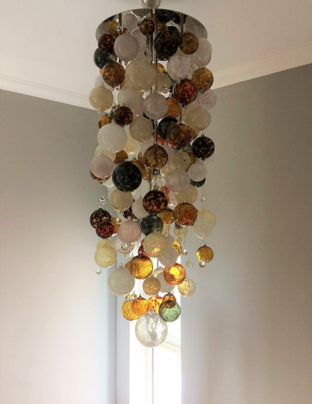 Alabaster Amber Brown Neutral Blown Glass Chandelier