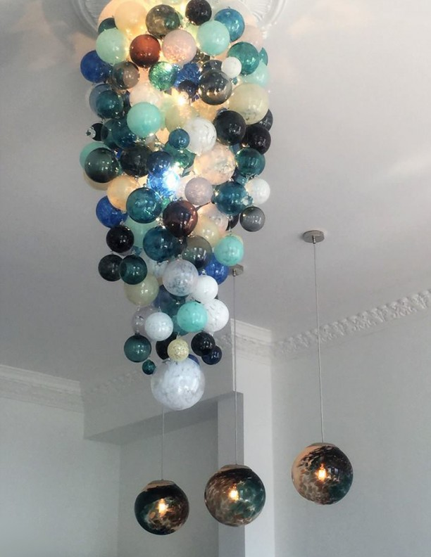White Blue Aqua Long Blown Glass Chandelier