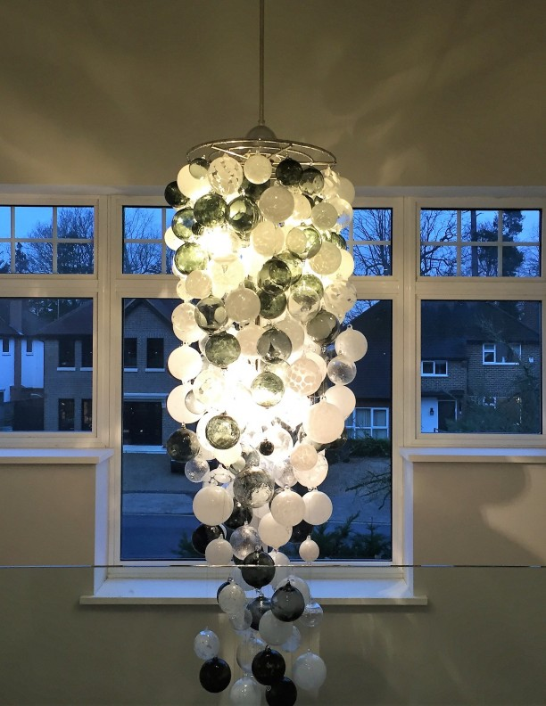 neutral glass sphere chandelier luxury