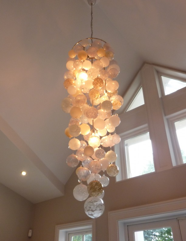 luxurious hall Chandelier Pendant LightingLarge neutral colours Contemporary Chandeliers arty blown glass Designer unusual quirky Modern Chandeliers hand crafted