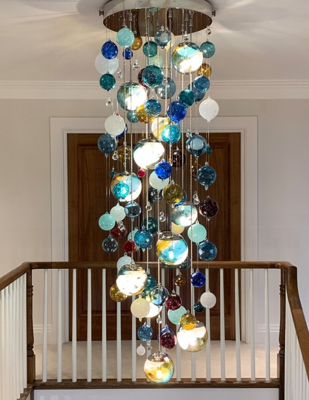 Unique Chandelier Designer dramatic brightly hand blown glass atrium Contemporary Glass Chandeliers beautiful round glass coloured Large amethyst aqua violet colours glass ball