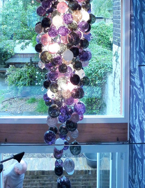 Unique Chandeliers Designer dramatic brightly hand blown glass atrium Contemporary Glass Chandeliers beautiful round glass coloured Large amethyst violet colours glass ball