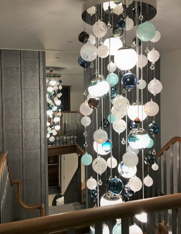 Cascade Turquoise Alabaster White Bespoke Chandelier Contemporary and Modern Handcrafted Chandelier