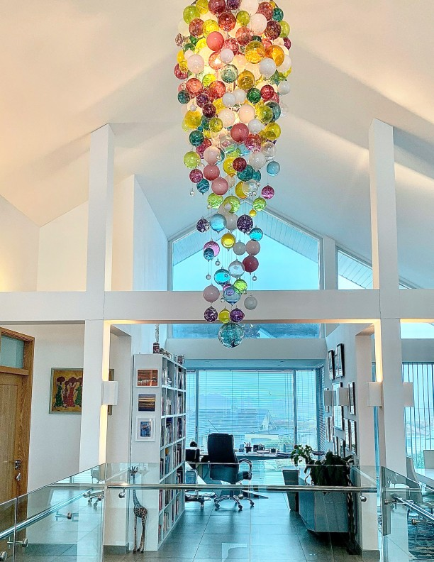Long Chandelier unusual blown glass glass ball brightly coloured long Lounge hand made luxurious hall Chandelier Pendant Lighting Bespoke Chandeliers glass ball (1)