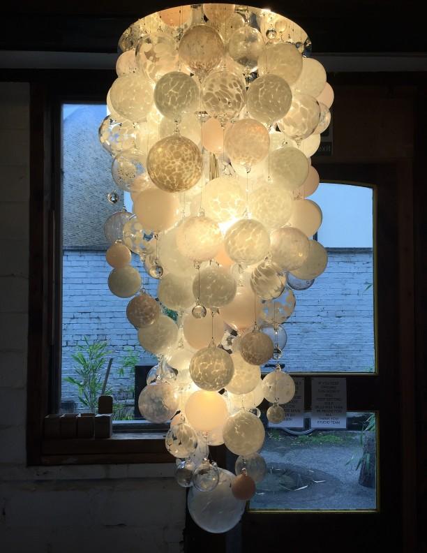 neutral glass sphere chandelier luxury